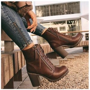 MALIA- Lace Up Heeled Bootie- Brown